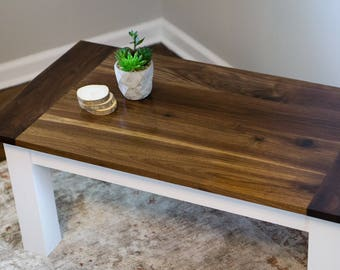 Rustic Coffee Table   Solid Wood Black Walnut Coffee Table   Modern Rustic  Farmhouse