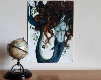 "Watercolor ""Bubbles and Mermaid"""