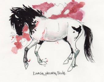 Original horse watercolor and ink drawing