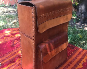 Handmade Leather square backpack