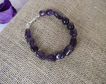 Amethyst Chunky Bracelet with Sterling Silver
