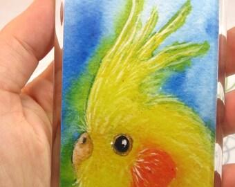 Lutino cockatiel magnet - yellow cockatiel magnet - bird art magnet - cockatiel art magnet animal art magnet art print magnet  fridge magnet