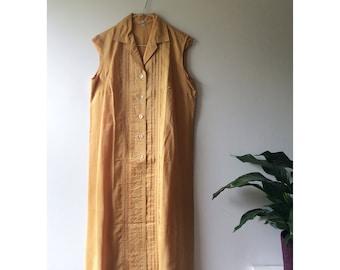 Stunning Classic 60s Vintage Golden Yellow Shirt Dress / Pure Silk