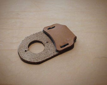 Heavy duty leather thumb guard for carving and woodworking.