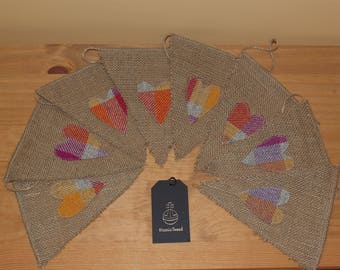 Rustic Hessian and Harris Tweed bunting