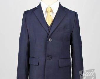 Boy Suit Navy Blue - Formal, Wedding, Church, Communion, Tuxedo Suit