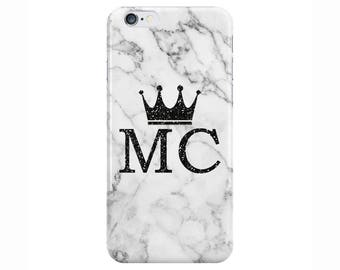 Personalised Glitter initials and Crown White Marble Phone Case Cover for Apple iPhone 5 6 6s 7 8 Plus & Samsung Galaxy Customized Monogram
