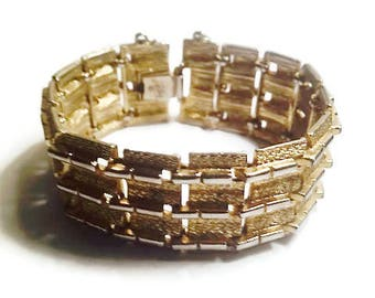Coro Pegasus Gold and Silver Tone Wide Link Bracelet