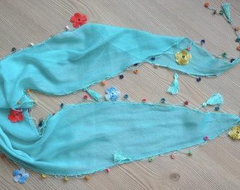 Embroidered Flower Scarf / Beaded Scarf /Blue Scarf / Turquoise Skarf /Summer Skarf / Beach Headband
