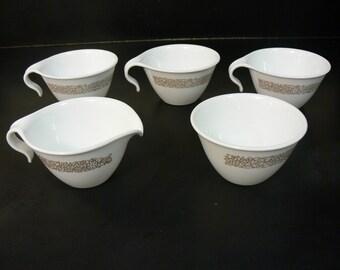 5 Vintage Corelle Corning Coffee Tea Cream/Sugar Set Woodland Brown Floral Hook Handle