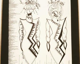 SieCel Girls 1  Fashion Drawing Original Art Design Black ink pen on paper illustration
