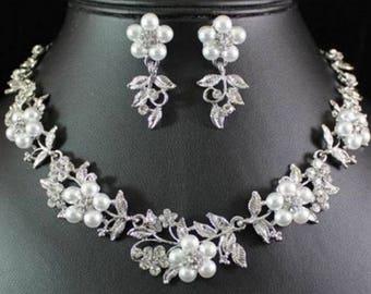 Rhinestone, Crystal, pearl, CZ necklace set, wedding bridal jewelry set costume