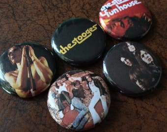"THE STOOGES 1"" Button/Badge Set! Iggy Pop, MC5, Funhouse"