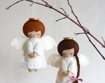 Felt PDF sewing pattern - Felt angels. Christmas tree ornaments, boy and girl angels, easy sewing pattern, angel softies, digital item