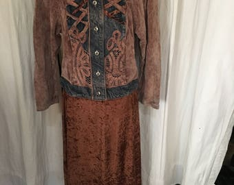 vintage velvet long robe and bohemia jeans wear
