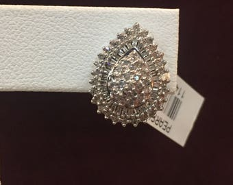 14k white gold and diamond cluster earings
