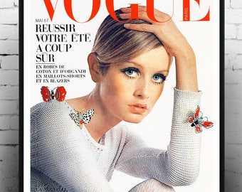 Twiggy Vogue Cover , Twiggy, Home Decor, Celebrity Print, Print, Gift for her, Vintage Poster,