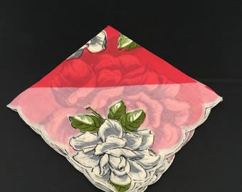 Women's Vintage Handkerchief - Gray and White Roses, Pink and Red Geometric Stripes
