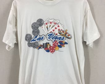 Vintage 90s Las Vegas Shirt~Screen Stars~USA Made~Size Large