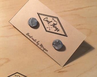 Grey and White Marble Stud Earrings