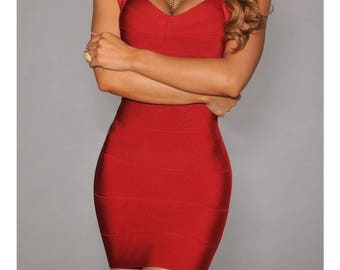 Bandage red with Backless dress