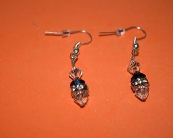Dark blue/clear Swarovski earrings