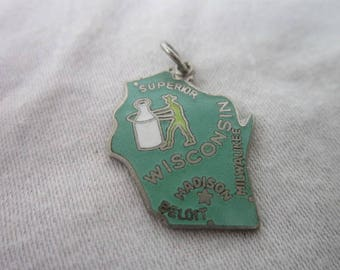 Vintage Wisconsin Enameled U S State Souvenir Charm or Pendant