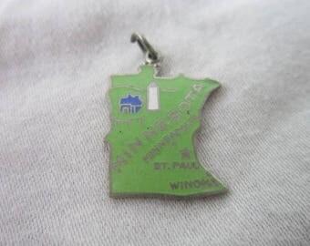 Vintage Minnesota U S State Souvenir Enameled Charm or Pendant