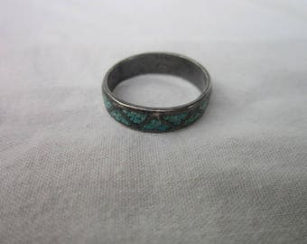 Vintage Native American Sterling Silver & Inlaid Turquoise Men's Ring