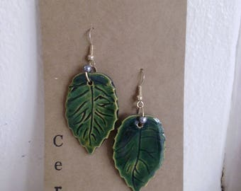 Ceramic Leaf Drop Earrings