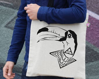 Toucan Canvas Tote, Bird Print Bag, Toucan Print, Cotton Tote, Hemp Bag, Beach Bag, Shopping Bag, Shoulder Bag, Cool Tote, Gift, TT006