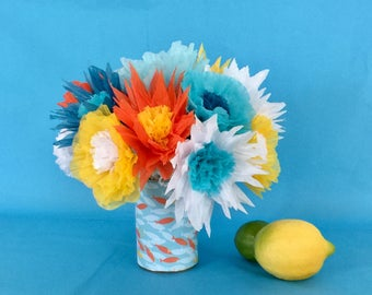 Blue, Orange and Yellow Paper Flower Arrangement
