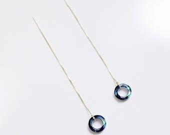 14kt Gold Threader Earrings, Bermuda Blue Earrings, Swarovski Crystal  Earrings, Drop Earrings, Wedding earrings, Bridesmaid Earrings