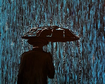 Caught In the Rain #2 - original painting by flooko - MADE TO ORDER