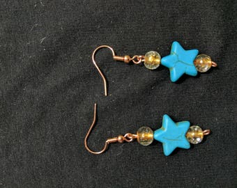 Turquoise copper and glass earrings