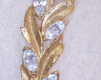 Vintage TRIFARI Rhinestone Leaf Brooch SIGNED