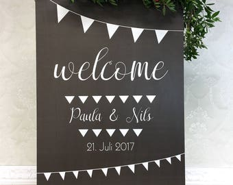 Wedding plate with decoration Garland black wood wedding personalized plate