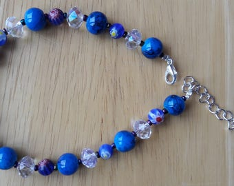 Blue Millefiori Glass Beads and White Crystal Bracelet with Silver fittings