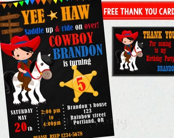 Cowboy birthday invitation + Thank you Cowboy party invites Cowboy party supplies Western Birthday outfit cowboy party invitation printables