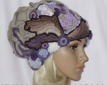 Knitted hat warm for women.
