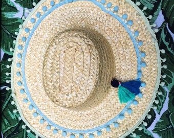 Pom Pom Straw Summer Sun Hat with Oversized Brim and Tassle Detail