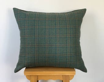 Decorative Pillow silk velvet and wool Tartan Pillow,Green,Interior designed pillow,Hand made,.