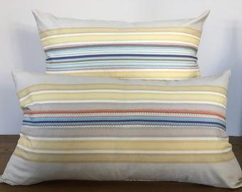 Outdoor Pillows,Striped Pillows,Hand made,Beach house Pillows ,Designer Pillows,Collection of Cushions,set ot 2 cushions