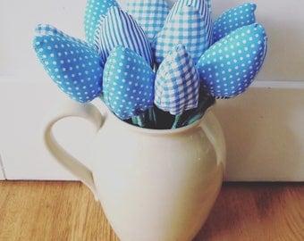 It's A Boy! Bouquet Handmade Fabric Flower Tulips New Baby