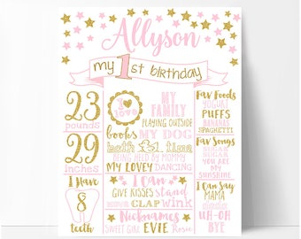 Twinkle twinkle little star First birthday chalkboard sign, girl pink and gold birthday board, white or chalkboard background, printable