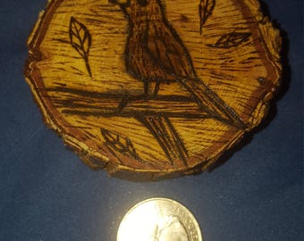 Wood Burned bird on a branch