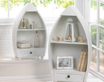 White RowBoat Curio Cabinet