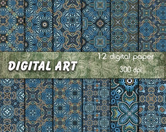 Digital paper package blue arabic patterns