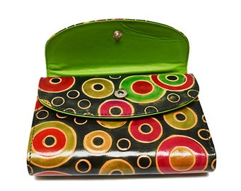 Ethnical Leather Wallet, Circus Model - made GREEN