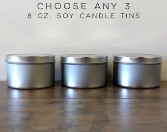 Choose Any 3 Soy Candles Sampler Pack, 8 oz Soy Candle Tins, Soy Wax Candles, Scented Candles, Soy Candles Handmade, Modern Farmhouse Decor